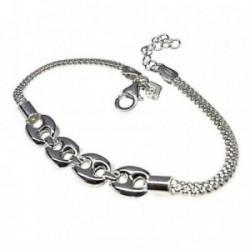 Pulsera plata Ley 925m 18cm. motivos calabrotes cadena malla [AB6209]