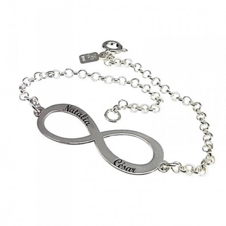 Pulsera plata Ley 925m motivo infinito 18cm. cadena rolo [AB6256]