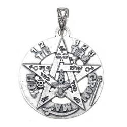 Colgante plata ley 925m tetragramatón 26mm. amuleto estrella protección esotérico parte trasera lisa