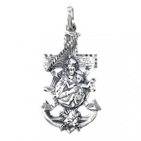 Colgante plata Ley 925m cruz marinera Virgen del Carmen 38mm. unisex ancho 20mm. unisex