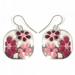 Pendientes plata Ley 925m largos 21mm. flor rosa esmaltada [AB5938]
