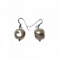 Pendientes plata Ley 925m largos 13mm. perla sintética gris [AB5949]