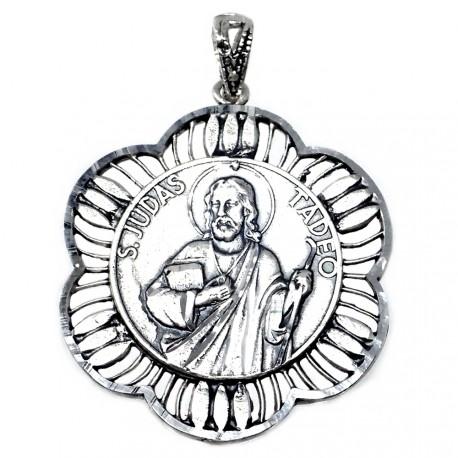 Medalla plata ley 925m San Judas Tadeo 30mm. cerco rombos [AA9815GR]