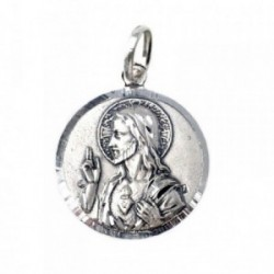Medalla plata Ley 925m Escapulario 21mm. Corazón de Jesús [AB7124]