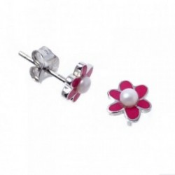 Pendientes plata Agatha Ruiz de la Prada 8mm. flor perlas [AB7155]