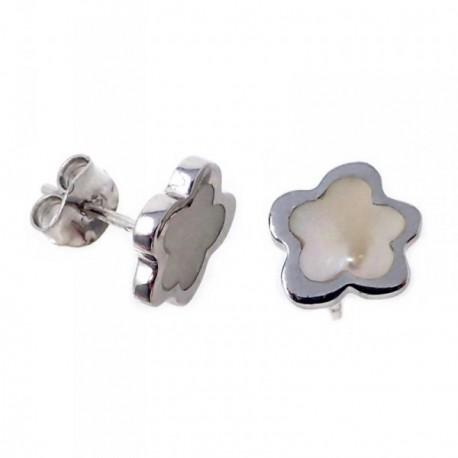 Pendientes plata Agatha Ruiz de la Prada 10mm. flor nácar [AB7156]