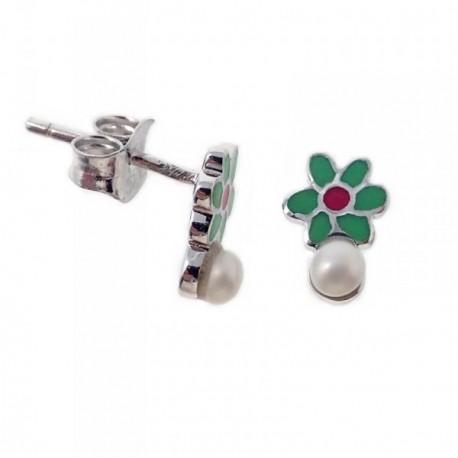 Pendientes plata Agatha Ruiz de la Prada 9mm. flor perlas [AB7158]