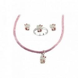 Juego plata Ley 925m motivo gatita osito rosa [AB6273]