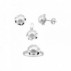 Juego plata Ley 925m motivo flor brillo centro perla 8mm. [AB6290]