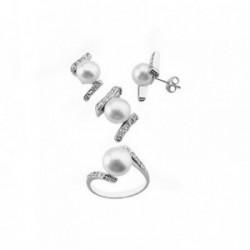Juego plata Ley 925m motivo perlas 9.5mm. bandas circonitas [AB6291]