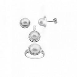 Juego plata Ley 925m motivo centro perla 8.5mm. circonitas [AB6292]