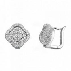 Pendientes plata Ley 925m flor microengaste circonitas [AB6314]