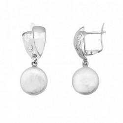 Pendientes oro blanco 18k largos perlas coin bandas espiral [AB6952]