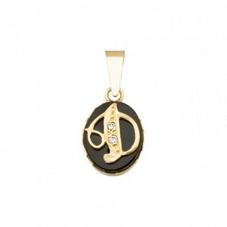 Colgante oro 18k oval 10mm. piedra ónix letra D  [AB6900]