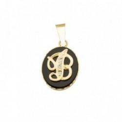 Colgante oro 18k oval 10mm. piedra ónix inicial letra B [AB6901]