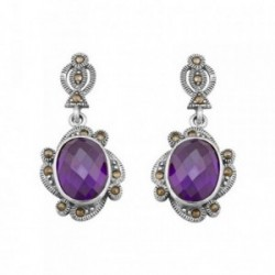 Pendientes plata Ley 925m largos marquesitas piedra púrpura [AB6394]
