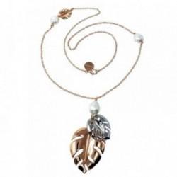 Collar Pertegaz bicolor Adán dos hojas perlas sintéticas [AB7178]