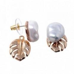 Pendientes Pertegaz colección Adán perlas sintéticas hoja [AB7180]