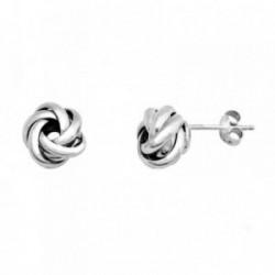Pendientes plata Ley 925m rodiada bandas nudo [AB6474]