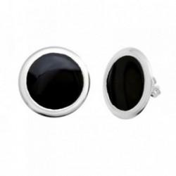 Pendientes plata Ley 925m 19mm. esmaltados negro [AB6481]
