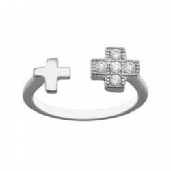Sortija plata Ley 925m ajustable cruces lisa circonitas [AB6711]