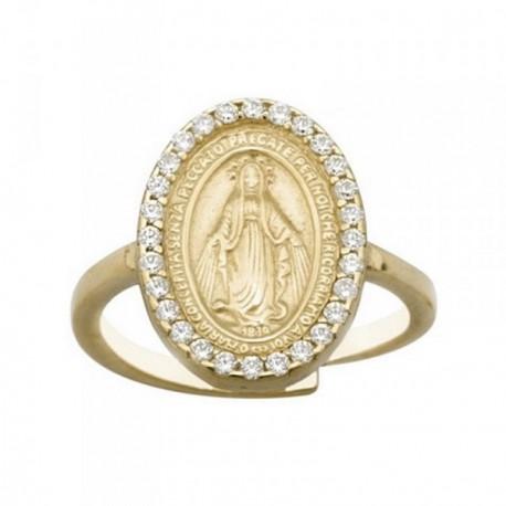 Sortija plata Ley 925m dorada ajustable Virgen Milagrosa [AB6745]