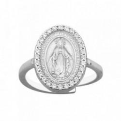 Sortija plata Ley 925m ajustable Virgen Milagrosa circonitas [AB6746]