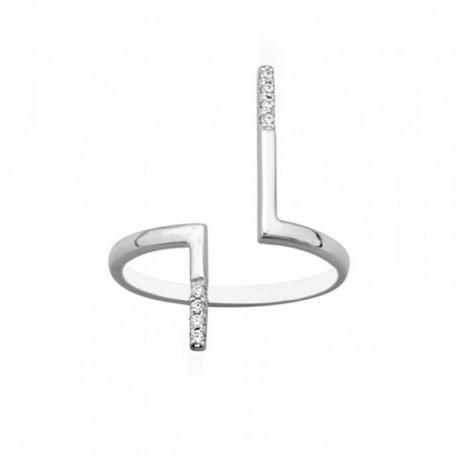Sortija plata Ley 925m ajustable bandas circonitas [AB6773]