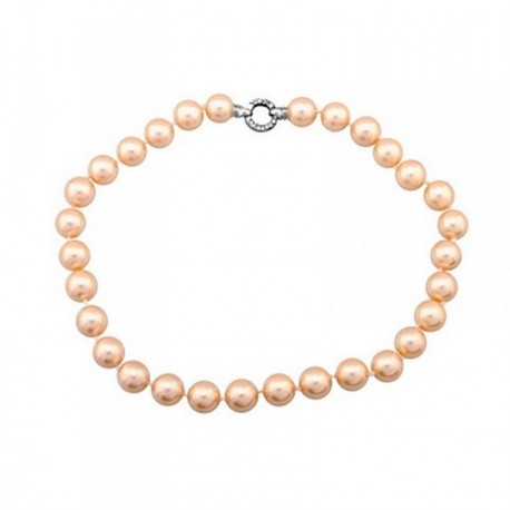 Pulsera plata Ley 925m perlas shell 14mm. naranjas [AB6789]