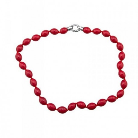 Pulsera plata Ley 925m perlas shell rojo coral [AB6791]