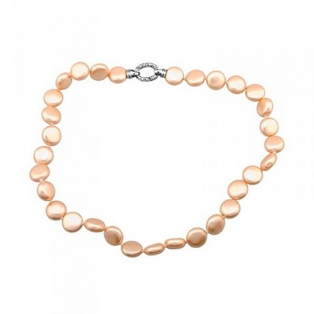 Pulsera plata Ley 925m perlas coin 13mm. naranja [AB6794]