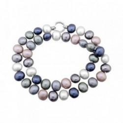 Gargantilla plata Ley 925m 80cm. perlas shell 19mm. grises [AB6802]