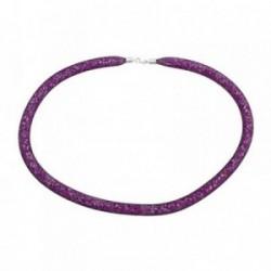 Pulsera plata Ley 925m amistad piedras color púrpura [AB6806]