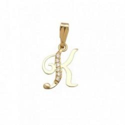 Colgante oro 18k inicial letra K circonitas [AB7083]