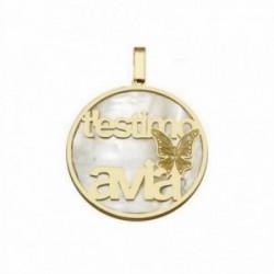 Colgante plata Ley 925m dorada T'ESTIMO ÀVIA nácar [AB6827]
