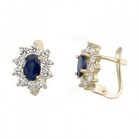 Pendientes oro 18k oval 6mm. piedra color azul [AB6871]