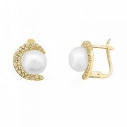 Pendientes oro 18k media luna perlas 8mm cultivadas [AB6958]