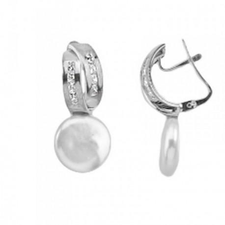 Pendientes oro blanco 18k perlas coin bandas circonitas [AB6968]