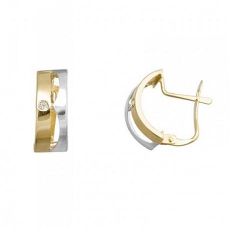 Pendientes oro 18k bicolor bandas lisas centro circonitas [AB6998]