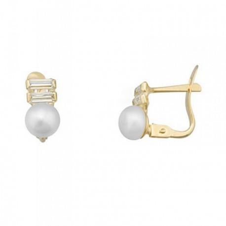 Pendientes oro 18k perlas botón 5.5mm. circonitas 4x1.5mm. [AB7028]