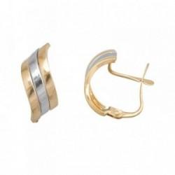 Pendientes oro 18k bicolor bandas lisas [AB7036]