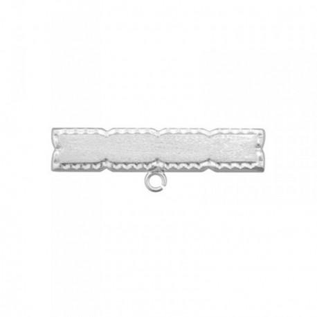 Alfiler plata Ley 925m bebé borde tallado rectangular [AB6850]
