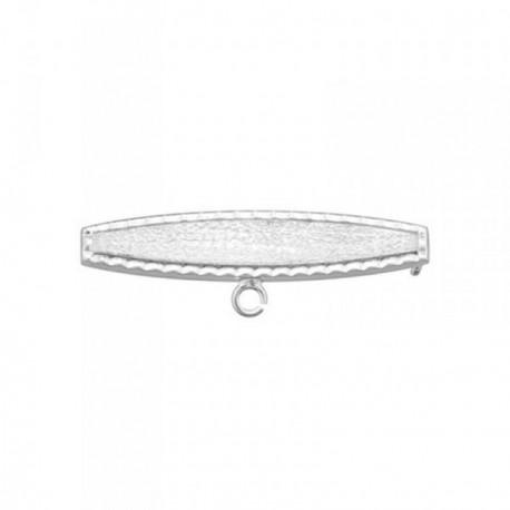 Alfiler plata Ley 925m bebé borde tallado oval [AB6852GR]