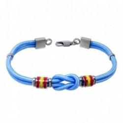 Pulsera acero 21cm. bandera España motivo nudo azul cordón [AB7216]