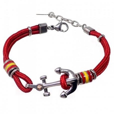 Pulsera acero 18cm. bandera España motivo ancla roja cordón [AB7222]