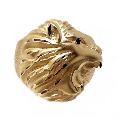 Sello oro 18k cabeza león ojo piedra negra [AB7227]