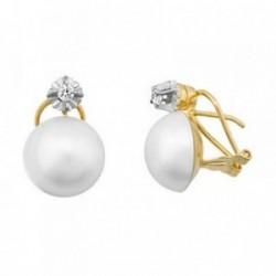 Pendientes oro 18k perlas japonesas 13-14mm. circonita [AB6874]