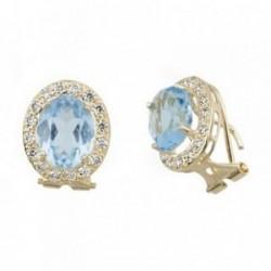 Pendientes oro 18k oval centro piedra azul circonitas [AB6879]