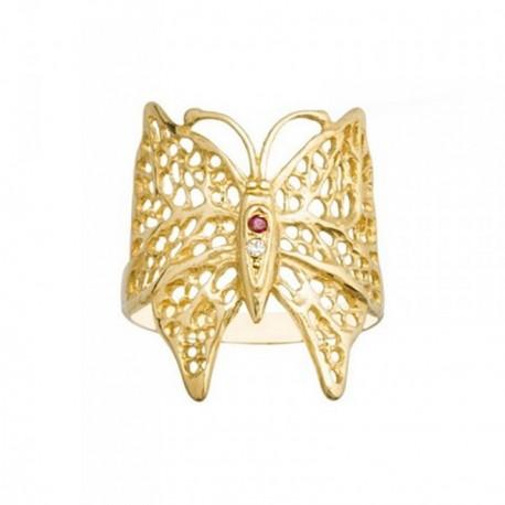 Sortija oro 18k mariposa calada piedra color rojo circonita [AB6869]