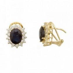 Pendientes oro 18k oval piedra color azul 9mm. circonitas [AB6885]